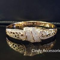 Gelang Bangle Simple Knots Diamonds Bracelet - Gold