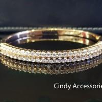 Gelang Bangle Simple Diamonds Bracelet - Gold