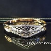 Gelang Bangle Etnik Simple Ethnic Diamonds Bracelet - Two-Tone