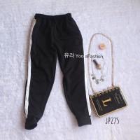 Slit Side Stripe Jogger Pants Celana Olahraga Casual Wanita JP275