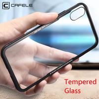 CAFELE iPhone X Case - Toughened Glass Super Light Case Free Tempered - Hitam