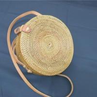 Tas Rotan bulat Klip 20 cm | rattan bag original Lombok bali murah