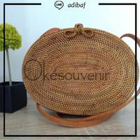 Tas rotan oval asli lombok, rattan bag original