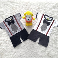 OZK Baju Pesta Romper Jumper Anak Bayi Laki-Laki Suspender Dasi