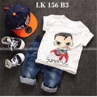 LK 156 B3 Superman - Setelan Anak - Jeans Sets Import