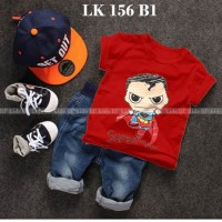 LK 156 B1 Superman - Setelan Anak - Jeans Sets Import
