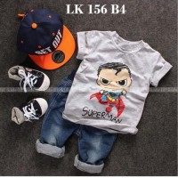 LK 156 B4 Superman - Setelan Anak - Jeans Sets Import