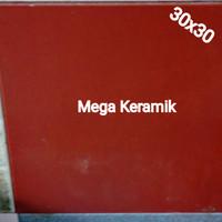 KERAMIK LANTAI 30X30 MERAH MAROON POLOS (DOFF)