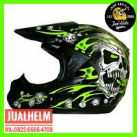 Helm Snail 309 Motif Hijau Green / Helm Full Face / Helm Cross