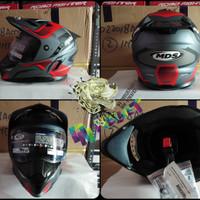 MDS SuperPro Motif GunMetal Red Doff  - double visor