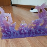 pajangan patung ukiran naga phoenix burung hiasan imlek angpao lampion