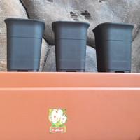 pot bunga kotak HITAM(88)diameter 12cm JUOSS menanam bibit/kaktus