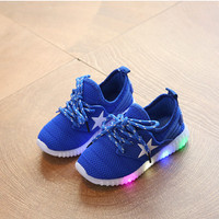 sepatu lampu led anak adidas yeezy biru / star blue