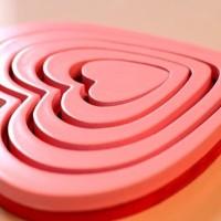 hiasan dinding 3d love heart bahan kayu