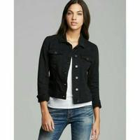 Jaket Jeans Wanita Jaket Denim Perempuan Warna Hitam Pekat Model Kerah