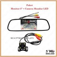 Monitor Mirror TFT Parking 5 inchi - PAKET Kc Spion Mobil & Kamera LED