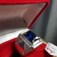 CINCIN BATU BLUE SAFIR PERAK 925 ASLI DIAMOND CUT