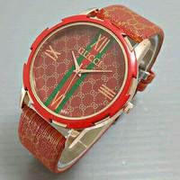 Jam Tangan Wanita / Cewek Murah Gucci SK448 Leather Red