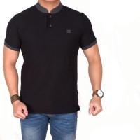 polo shirt pria polos hitam lengan pendek / baju kaos kerah koko slim