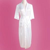LIVIA Sexy Lingerie Kimono Long Robe + G String Nightdress White Putih