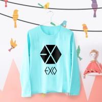 Tumblr Tee / T-Shirt / Kaos Wanita Lengan Panjang Exo Logo Warna Tosca