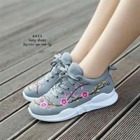 Sepatu Wanita Kets Casual Bordir Bunga SDS232 Abu