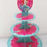 Cupcake stand little mermaid ariel / rak cupcake 3 tier mermaid ariel