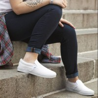 Sepatu Vans Slip On / Couple Slop / All White Putih / Cewe Wanita Pria