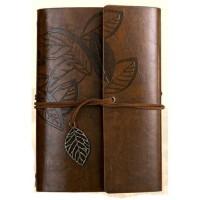 Buku Catatan Binder Kulit Retro Leaf Kertas A6 - Leather Buku Klasik