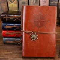 Buku Catatan Binder Kulit Retro Compass Kertas A6