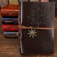 Buku Catatan Binder Kulit Retro Compass Kertas A6 - Coffee