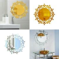 hiasan stiker dinding cermin kaca bulat