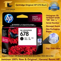 Cartridge Tinta HP 678 Black ORIGINAL Catridge HP 1515 2515 2645 4515