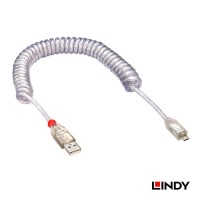 LINDY #31926 USB Coiled Cable A Male to Micro-B Male 2m