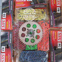 Gear Set SSS 428 Satria FU [ 2007 - 2012 ] & Rantai SSS Hsb Warna