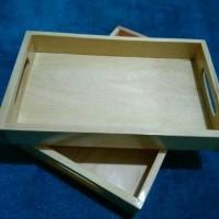 Baki Kayu / Nampan Kayu / Tray Kayu Pinus 35 x 25 cm pegangan datar