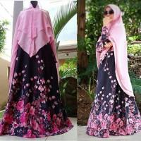 Produksi Baju Muslim syari mawar pinkblack gamis only