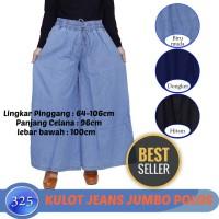 Celana Wanita Kulot Jeans Ukuran Jumbo Big Size Motif Polos
