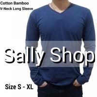 Kaos Polos V-Neck Lengan Panjang Katun Bambu - Cotton Bamboo