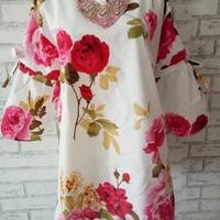 Blouse murah/atasan wanita motif shabby chic flower pita Red/Real pict