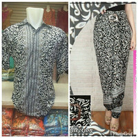 kemeja couple rok lilit motif cacing silver