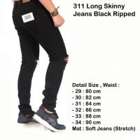 celana hitam ripped jeans / celana panjang pria sobek hitam ( best )