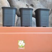 pot bunga kotak HITAM(88) diameter 12cm JUOSS menanam bibit&kaktus