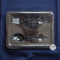 Mika Box Bento PREMIUM FULL SET ( + Sendok Garpu) 4 sekat - 10pcs