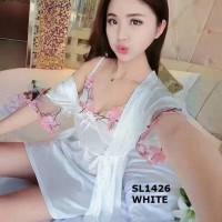 SL1426 WHITE  KIMONO LINGERIE KADO SESERAHAN PERNIKAHAN