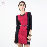 BODYTALK-DRESS LENGAN PANJANG BLACK AND RED DRESS 74019T6BR)