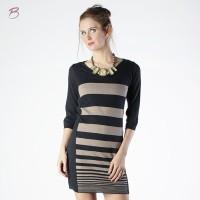 BODYTALK-DRESS LENGAN 3/4 BODYTALK CREAM BLACK STRIPE DRESS 73010T3CB)