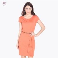 BODYTALK-DRESS LENGAN PENDEK OVER SLAG ORANGE DRESS 72008T6OR)