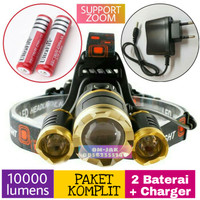 Paket senter kepala / Headlamp Cree XML T6 golden 10000 Lmn waterproof