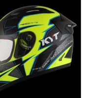 HELM FULLFACE ORIGINAL KYT MOTIF RC SEVEN YELLOW FLUO GUN METAL BLUE